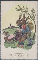 Frohe Ostern - Hasenfamilie